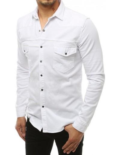 Bílé pánské tričko s dlouhým rukávem DX1935