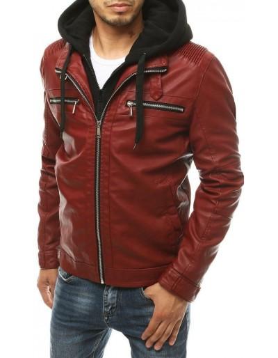 Červená pánská kožená bunda s kapucí TX3392