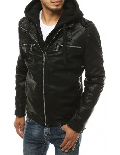 Černá pánská kožená bunda s kapucí TX3393