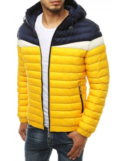 Žlutá pánská prošívaná bunda s kapucí TX3415
