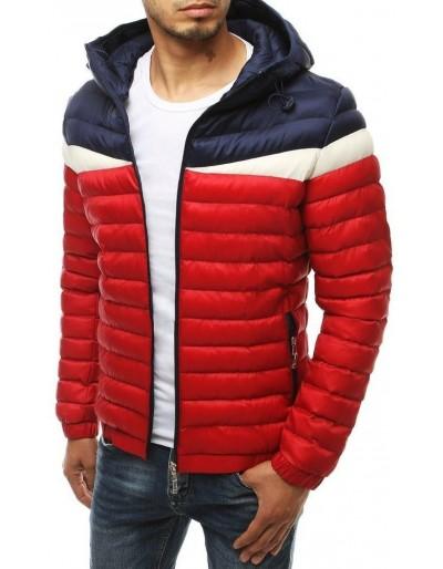 Červená pánská prošívaná bunda s kapucí TX3416
