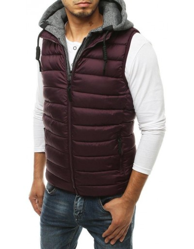 Pánská prošívaná vesta s kapucí fialová TX3452