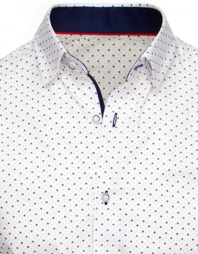 Biała koszula męska we wzory DX1941