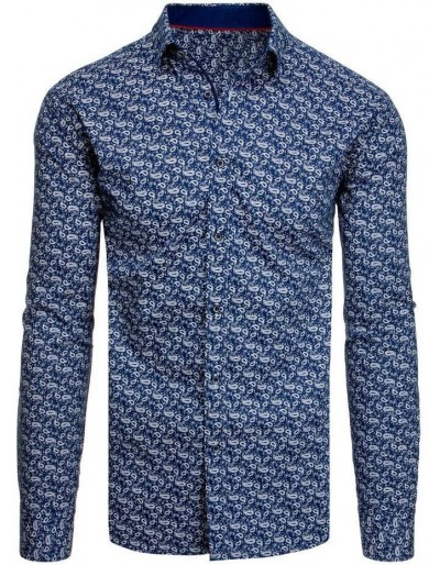 Námořnická modrá pánská košile se vzory DX1942