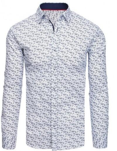 Bílé pánské tričko se vzory DX1946