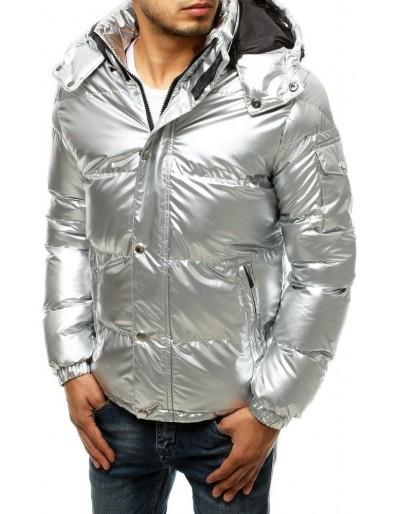 Pánská prošívaná zimní bunda, stříbrná TX3495