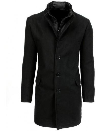Pánský jednořadý černý kabát CX0414