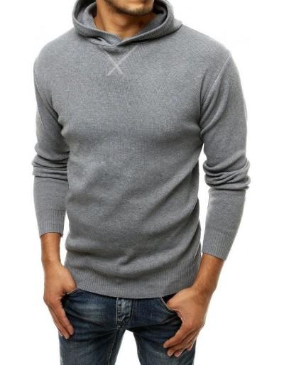 Šedý pánský svetr s kapucí WX1465