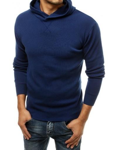 Pánský modrý svetr s kapucí WX1466