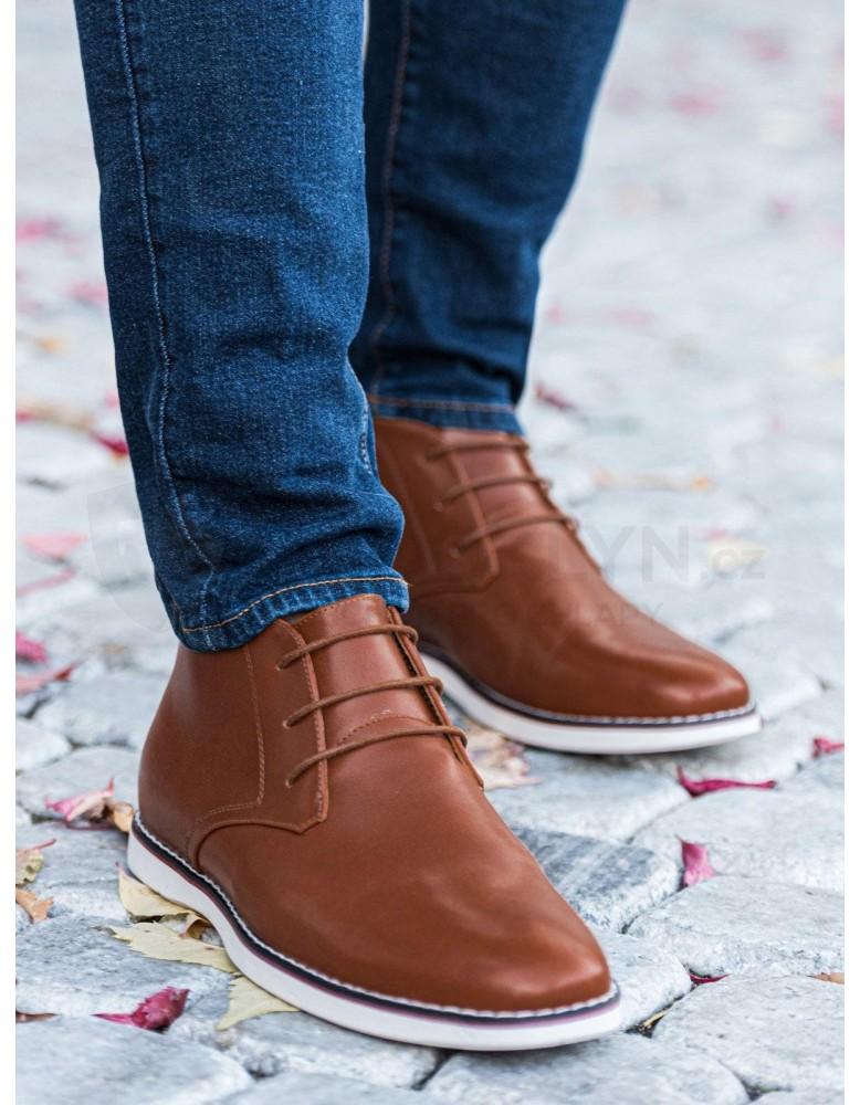Pánská obuv z přírodní kůže T318 - hnědá