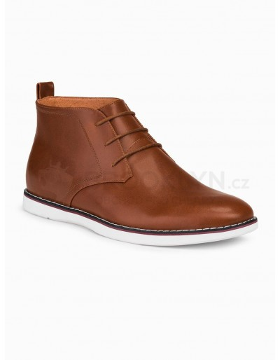 Men's natural leather shoes T318 - brown