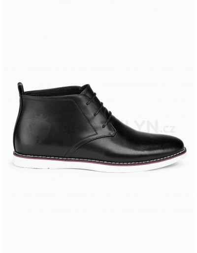 Men's natural leather shoes T318 - black