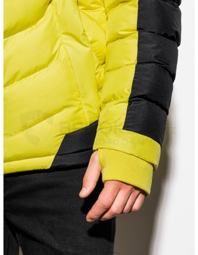Men's winter jacket C417 - yellow