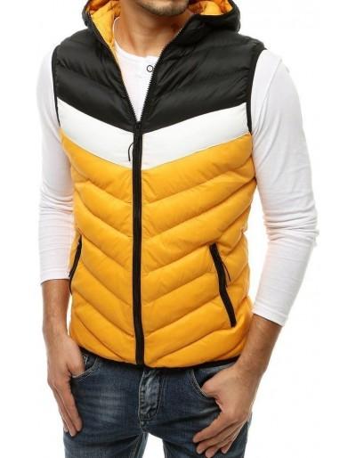 Žlutá pánská prošívaná vesta s kapucí TX3558