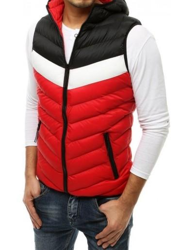 Červená pánská prošívaná vesta s kapucí TX3561