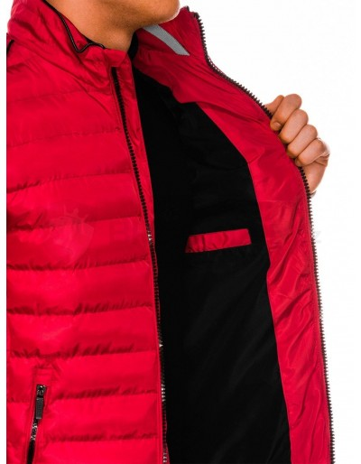 Men's winter quilted jacket C422 - red