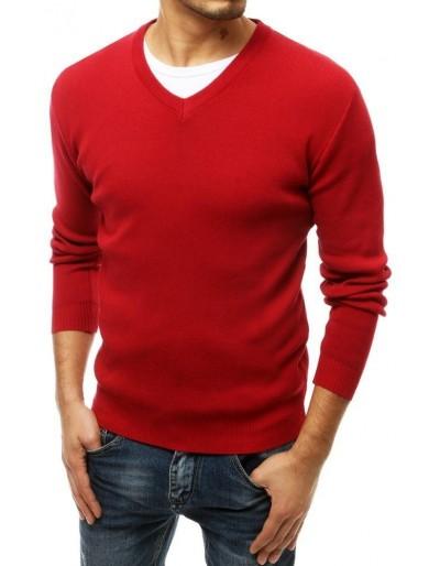 Červený pánský svetr s výstřihem do V WX1544