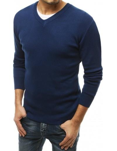 Pánský modrý svetr s výstřihem do V WX1546