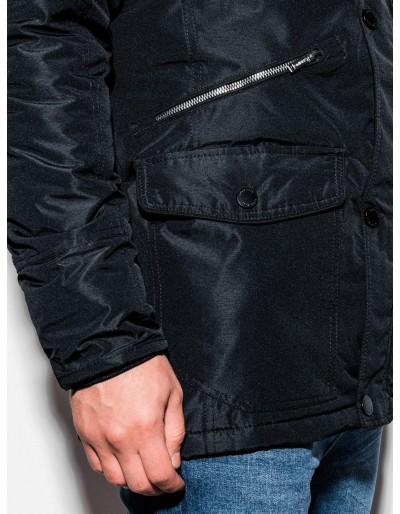 Men's winter parka jacket C410 - black