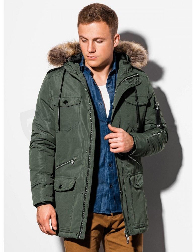 Pánská zimní bunda C410 - olivová