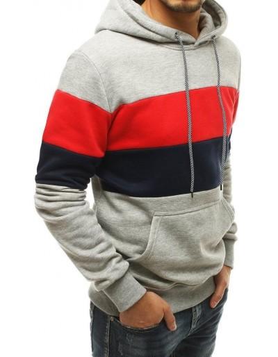 Bluza męska z kapturem jasnoszara BX4813