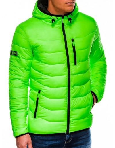 Pánská zimní bunda v neon barvě zelené