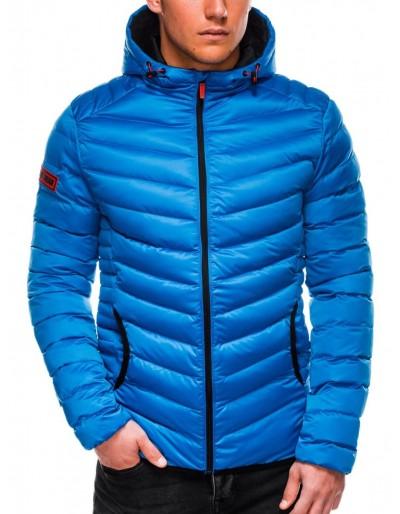 Pánská zimní bunda v top modré barvě