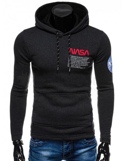 Men's hoodie B1163 - dark grey/melange