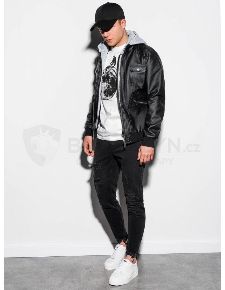 Pánská motorkářská bunda s kapucí C415 - černá