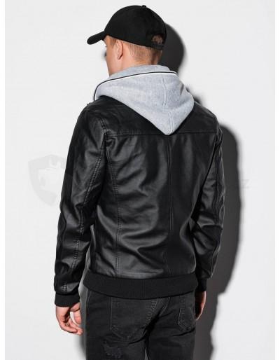 Men's biker jacket with hoodie C415 - black