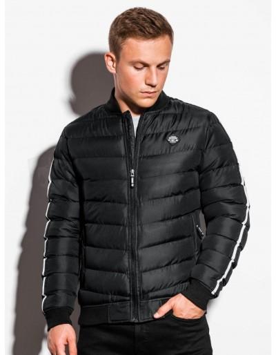 Men's mid-season quilted jacket C416 - black