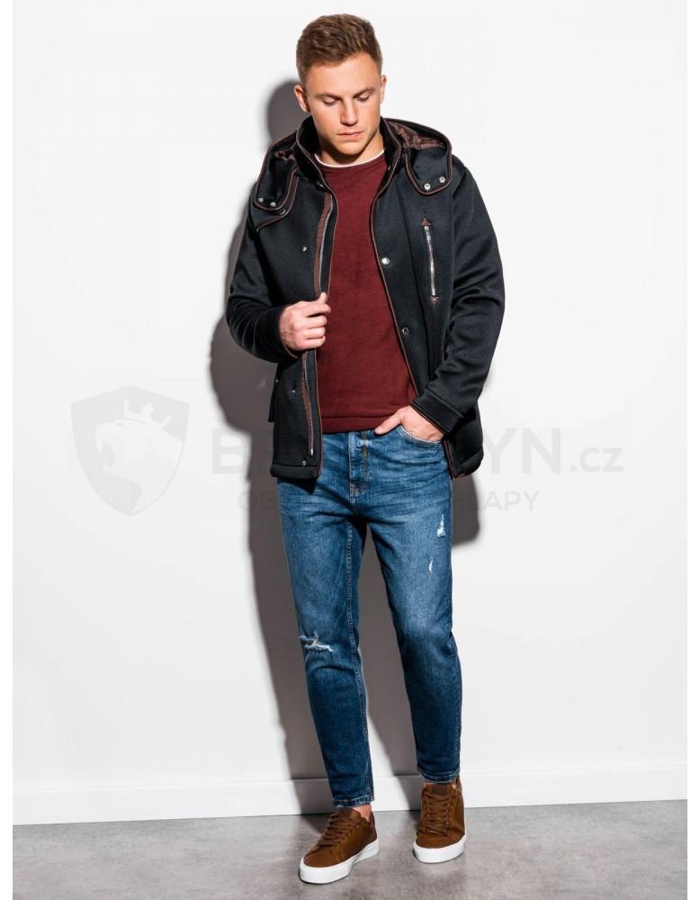 Pánský kabát s kapucí C200 - černý
