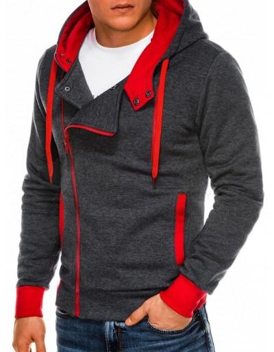 Men's zip-up hoodie B297 - dark grey/red