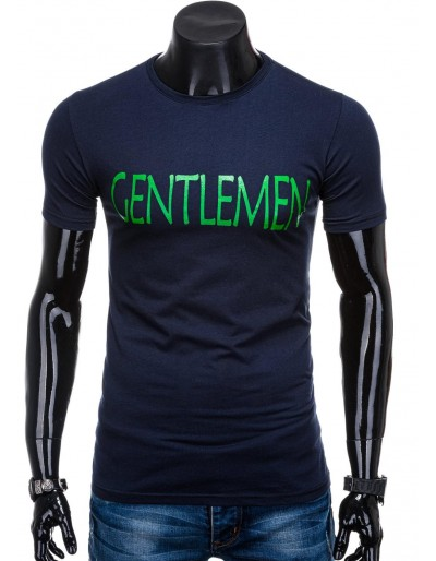 Men's printed t-shirt S1357 - dark navy