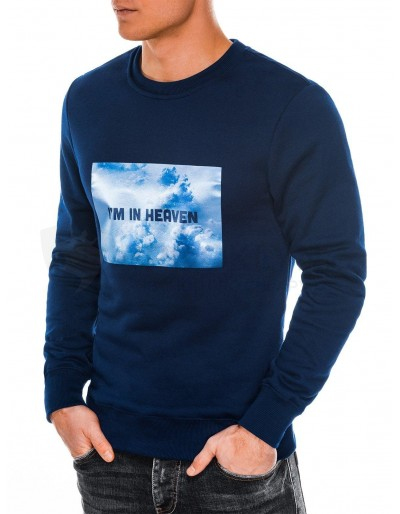 Men's printed sweatshirt B984 - navy