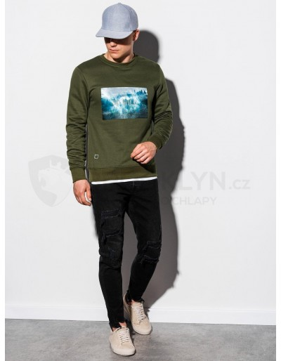 Men's printed sweatshirt B985 - khaki