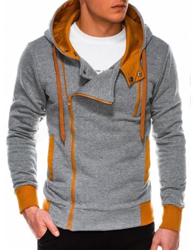 Pánská mikina na zip B297 - šedá / velbloud