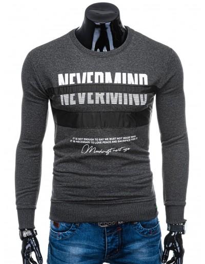 Pánské tričko s dlouhým rukávem B1141- tmavě šedé