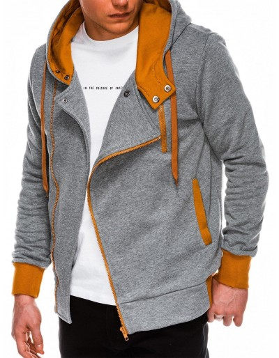 Men's zip-up hoodie B297 - grey/camel