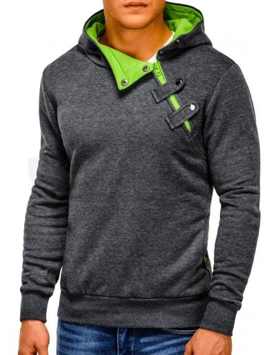 Pánská mikina PACO - tmavě šedá / zelená