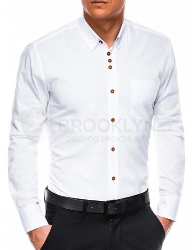 Pánská elegantní košile s dlouhým rukávem K302 - bílá