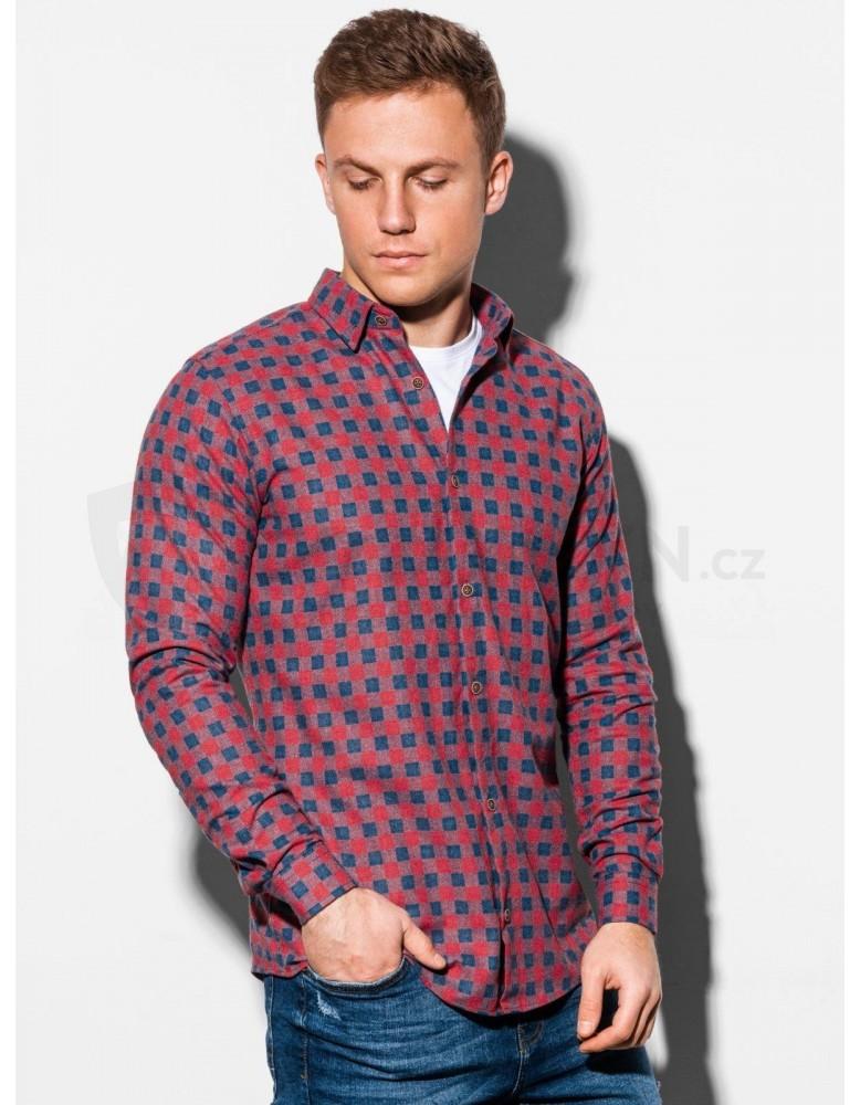 Pánská košile s dlouhým rukávem K509 - červená