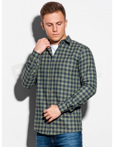 Men's shirt with long sleeves K509 - khaki