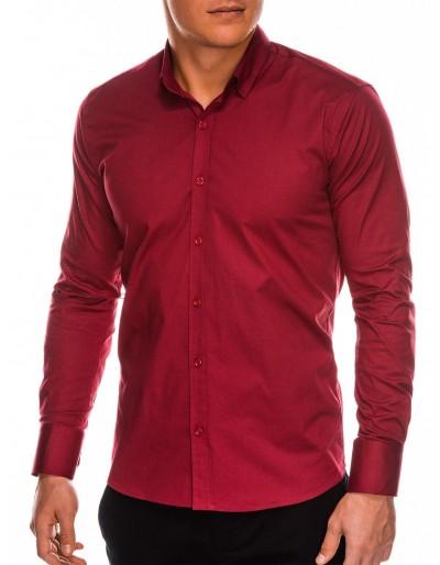 Pánská štíhlá košile s dlouhým rukávem K504 - tmavě červená