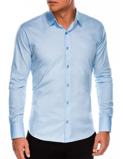 Pánská štíhlá košile s dlouhým rukávem K504 - světle modrá