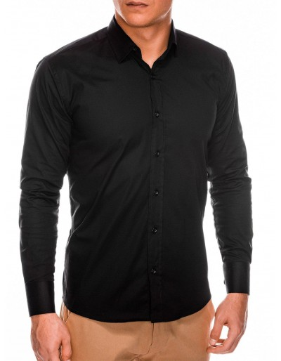 Pánská štíhlá košile s dlouhým rukávem K504 - černá