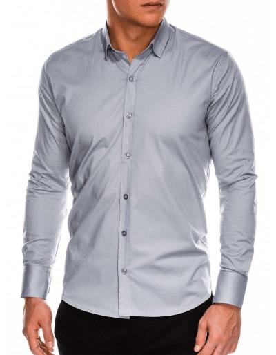 Pánská štíhlá košile s dlouhým rukávem K504 - šedá