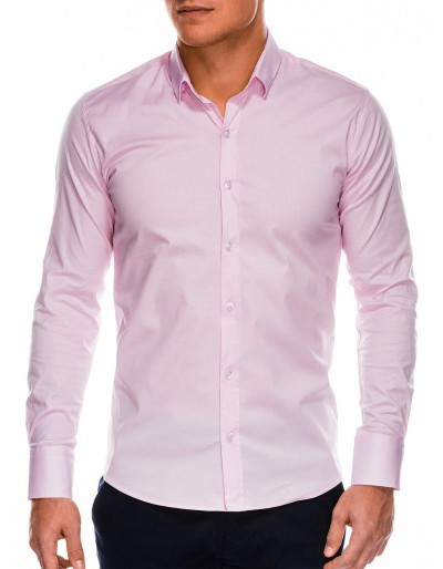 Pánská štíhlá košile s dlouhým rukávem K504 - růžová