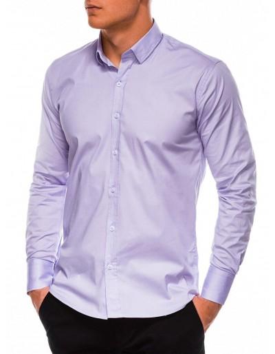 Pánská štíhlá košile s dlouhým rukávem K504 - lila
