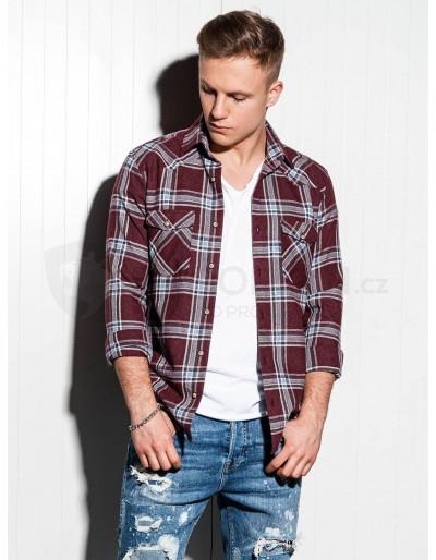 Pánská košile s dlouhým rukávem K510 - tmavě červená